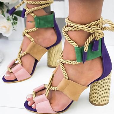 e258b1c9d4fb9 Women's Sandals Chunky Heel Peep Toe Buckle PU(Polyurethane) Spring & Fall  Green / Orange / Black / Yellow / Color Block