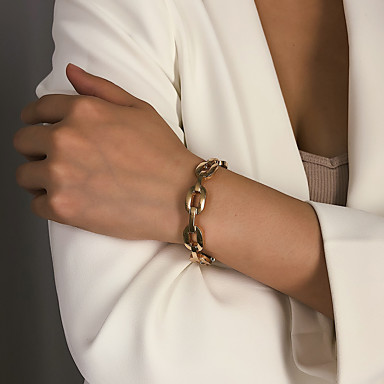 baratos Bangle-Mulheres Bracelete Pulseira Retro Precioso Na moda Fashion Liga Pulseira de jóias Dourado / Prata Para Presente Diário Escola Feriado Trabalho