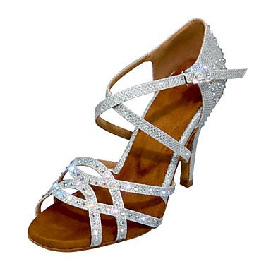 baratos Sapatos de Salsa-Mulheres Sapatos de Dança Sintéticos Sapatos de Dança Latina Gliter com Brilho / Detalhes em Cristal / Purpurina Salto Salto Alto Magro Personalizável Preto / Prata / Ensaio / Prática