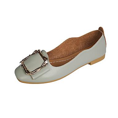 Kadın's Mokasen & Bağcıksız Ayakkabılar Düşük Topuk Yuvarlak Uçlu PU İlkbahar & Kış Açık Kahverengi / Açık Yeşil / Bej