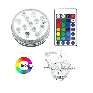 billige Utendørsbelysning-1 sett vanntett rgb led lampe med fjernkontroll nedsenkbare ledelys dekorasjonslys for 8,5 cm - med 28 nøkkel fjernkontroll