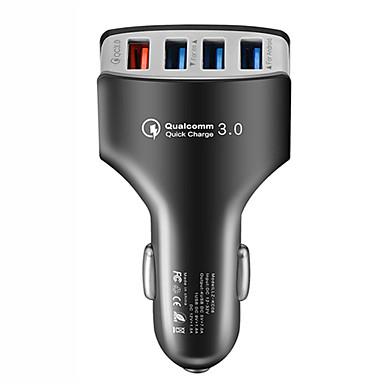 voordelige Automatisch Electronica-4 usb snellader 3.0 autolader adapter 7a qc3.0 turbo snel opladen 4 usb auto mobiele telefoon oplader voor iphone xiaomi