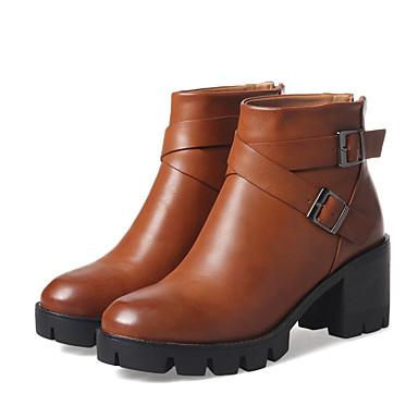 voordelige Dameslaarzen-Dames Laarzen Blok hiel Ronde Teen PU Korte laarsjes / Enkellaarsjes Brits / Studentikoos Herfst winter Zwart / Bruin / Feesten & Uitgaan