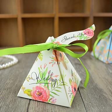 abordables Support de Cadeaux pour Invités-Triangle Papier carton Titulaire de Faveur avec Ruban Boîtes à cadeaux / Bocaux à Bonbons et Bouteilles - 100pcs
