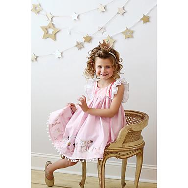 povoljno Novo u ponudi-Djeca Djevojčice Aktivan Geometrijski oblici Print Bez rukávů Do koljena Haljina Blushing Pink / Pamuk