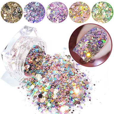 billige Strass og dekorasjoner-1box spiker glitter flager blandet sekskant runde symfoni sequins pigment holografisk nagel kunst pulver støv diy manikyr dekorasjoner
