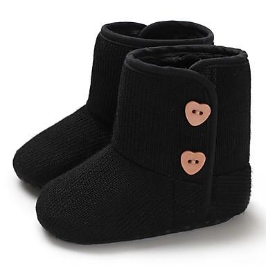 baratos Sapatos de Criança-Para Meninas Tricô Botas Crianças (0-9m) / Criança (9m-4ys) Primeiros Passos Preto / Roxo / Rosa claro Inverno