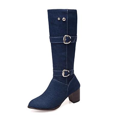 povoljno Ženske čizme-Žene Čizme Kockasta potpetica Okrugli Toe Kopča Traper Čizme do pola lista minimalizam Zima Crn / Dark Blue / Svjetloplav