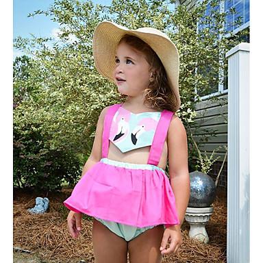 povoljno Haljinice za bebe-Dijete Djevojčice Osnovni Print Bez rukávů Haljina Fuksija