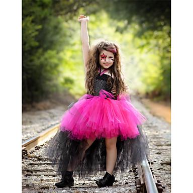 preiswerte Kleider für Mädchen-Kinder Baby Mädchen Aktiv nette Art Schmetterling Patchwork Gitter Ärmellos Knielang Elasthan Kleid