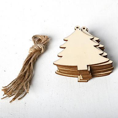 voordelige Feestbenodigdheden-ornamenten hout 10 kerst