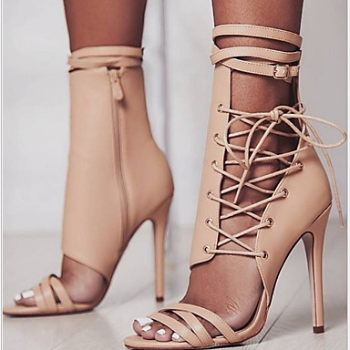 cheap Women's Shoes-Women's Sandals Stiletto Heel Round Toe Ribbon Tie PU(Polyurethane) Summer Black / Almond