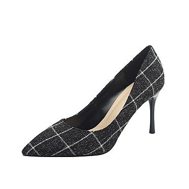 Kadın's Topuklular Stiletto Topuk Sivri Uçlu PU Tatlı / Minimalizm İlkbahar & Kış Siyah / Gri