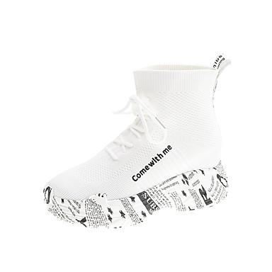 povoljno Ženske cipele-Žene Sneakers Creepersice Okrugli Toe Elastična tkanina / Tissage Volant Jesen / Proljeće ljeto Obala / Crn
