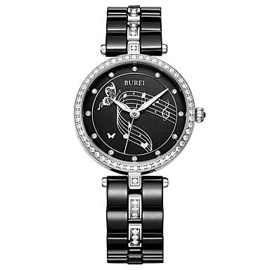 baratos Relógios Homem-Mulheres Relógio Elegante Quartzo Cerâmica 30 m Luminoso Relógio Casual Analógico Luxo Elegante - Preto Um ano Ciclo de Vida da Bateria