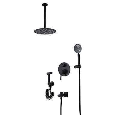 Siyah duş musluk-çağdaş duvar montaj seramik vana banyo duş bataryası musluk