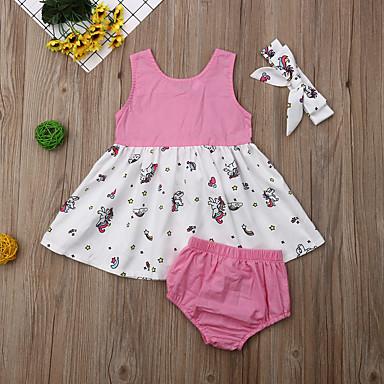 povoljno Odjeća za bebe-Dijete Djevojčice Aktivan / Osnovni Print / Kolaž Print Bez rukávů Haljina Blushing Pink