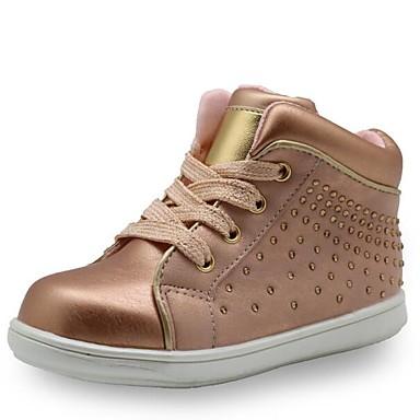 baratos Sapatos de Criança-Para Meninas Couro Ecológico Botas Little Kids (4-7 anos) Conforto / Curta / Ankle Miçangas Dourado / Prata Primavera / Botas Curtas / Ankle