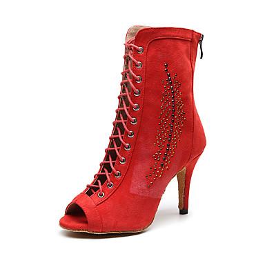 baratos Shall We® Sapatos de Dança-Mulheres Sapatos de Dança Camurça Botas de Dança Purpurina Salto Salto Alto Magro Personalizável Vermelho / Espetáculo