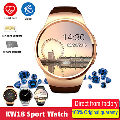 voordelige Smartwatches-kw18 smart watch mannen ondersteunen sim tf-kaart bluetooth bellen hartslag stappenteller sportmodi smartwatch voor android ios