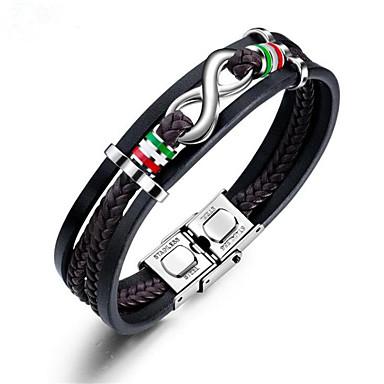 voordelige Herensieraden-Heren Lederen armbanden Gevlochten Oneindigheid Stijlvol Leder Armband sieraden Zwart Voor Lahja Dagelijks