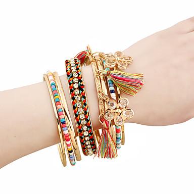 abordables Bracelet-8pcs Breloque Charms Bracelet Femme Multirang Pétale Le style mignon Bracelet Bijoux Dorée pour Quotidien Travail