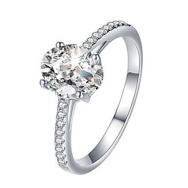 billige Motering-Dame Ring / Forlovelsesring Kubisk Zirkonium 1pc Sølv Strass / Legering Enkel / Klassisk / Vintage Engasjement / Gate / Arbeid Kostyme smykker