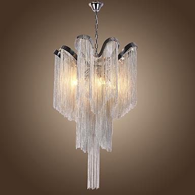 4 ışıkları luxry avize / alunmium stream kolye ışıkları / gümüş galvanik için dükkanı odası oturma odası restoran / led5w g9 sıcak beyaz ışık dahil
