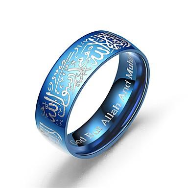 voordelige Herensieraden-Heren Dames Bandring Ring Staartring 1pc Zwart Zilver Blauw Titanium Staal Cirkelvormig Vintage Standaard Modieus Belofte Sieraden Letter