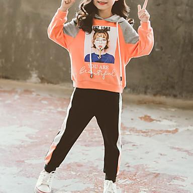 baratos Conjuntos para Meninas-Infantil Bébé Para Meninas Básico Moda de Rua Para Noite Casual Estampado Estampado Manga Longa Curto Curto Conjunto Roxo