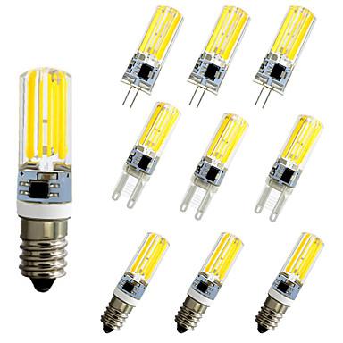 billige Elpærer-10pcs 5 W LED-kornpærer LED-lamper med G-sokkel 500 lm E14 G9 G4 T 1 LED perler COB Mulighet for demping Nytt Design Varm hvit Hvit 220-240 V