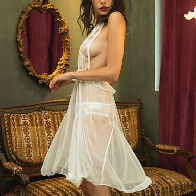 hesapli Moda İç Giyimler-Sexy Babydoll ve Slipler Yatak kıyafeti - Dantel / Arkasız / Örümcek Ağı, Solid / Nakışlı Kadın's