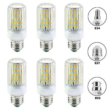 billige Elpærer-6pcs 15 W LED-kornpærer 1500 lm E14 B22 E26 / E27 T 96 LED perler SMD 5730 Nytt Design Varm hvit Hvit 220-240 V 110-120 V