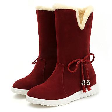 voordelige Dameslaarzen-Dames Laarzen Verborgen hiel Ronde Teen Sprankelend glitter / POM Pom Satijn Kuitlaarzen Herfst winter Zwart / Wijn / Lichtbruin