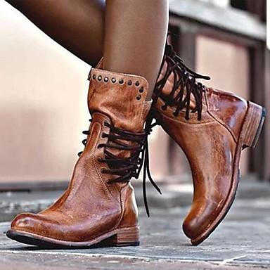voordelige Dameslaarzen-Dames Laarzen Lage hak Ronde Teen PU Herfst winter Zwart / Bruin / Grijs