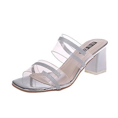 Kadın's Terlik & Flip-flops Kalın Topuk PU Günlük Yaz Altın / Gümüş
