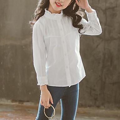halpa Tyttöjen vaatteet-Lapset Tyttöjen Aktiivinen Katutyyli Yhtenäinen Röyhelö Pitkähihainen Paita Valkoinen