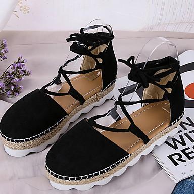 Kadın's Sandaletler Düz Taban Yuvarlak Uçlu PU Yaz Siyah / Pembe / Gri