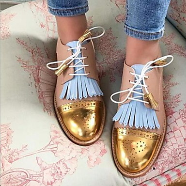 cheap New Arrivals-Women's Sneakers Flat Heel Pointed Toe PU Summer Gold / Yellow / Gray
