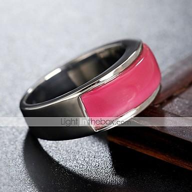 voordelige Herensieraden-Heren Bandring Ring 1pc Wit Zilver Roze Titanium Staal Cirkelvormig Vintage Standaard Modieus Dagelijks Sieraden