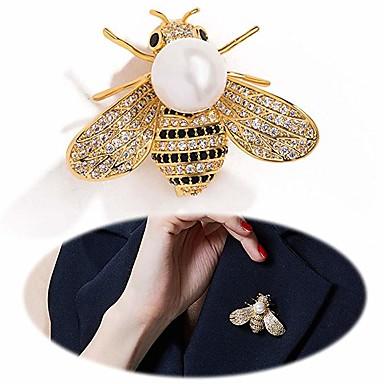Kadın's Broşlar Tropik Bal Arısı Lüks Zarif Renkli İnci Altın Kaplama Simüle Elmas Broş Mücevher Altın Gümüş Uyumluluk Düğün Nişan Hediye Çalışma Söz vermek