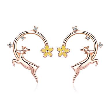 voordelige Dames Sieraden-authentieke 925 sterling zilver lopende elanden herten rose goud kleur oorknopjes voor dames mode oorbellen sieraden