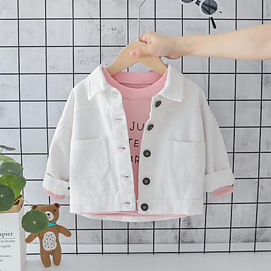 billige Ytterklær til Gutter baby-Baby Gutt Aktiv / Grunnleggende Trykt mønster Normal Jakke og frakk Hvit