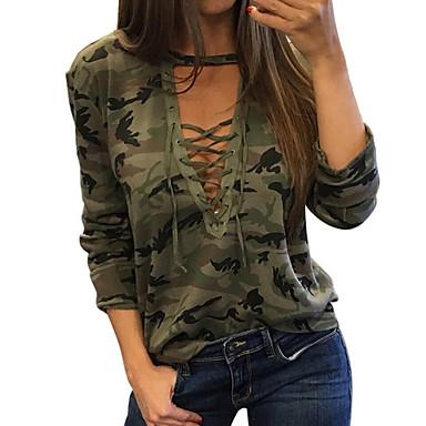 voordelige Nieuwe collectie-Dames Standaard Print T-shirt camouflage Klaver