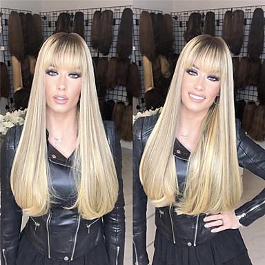 billige Skjønnhet og hår-Blondeparykker med menneskehår Rett Stil Midtdel Lokkløs Parykk Gull Bleik Blond Syntetisk hår 26 tommers Dame Dame Gull Parykk Lang Naturlig parykk