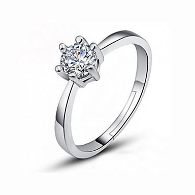 billige Motering-Dame Ring 1pc Sølv Fuskediamant / Legering Enkel / Koreansk / Mote Bryllup / Fest / Engasjement Kostyme smykker