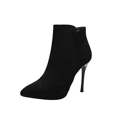 voordelige Dameslaarzen-Dames Laarzen Naaldhak Gepuntte Teen PU Zoet / minimalisme Winter Zwart / Amandel
