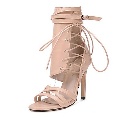 Kadın's Sandaletler Stiletto Topuk Sentetikler Tatlı / Minimalizm İlkbahar & Kış / Yaz Siyah / Badem / Düğün / Parti ve Gece