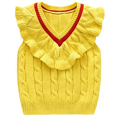 baratos Suéteres & Cardigans para Meninas-Infantil Bébé Para Meninas Activo Básico Sólido Estampa Colorida Frufru Sem Manga Suéter & Cardigan Roxo