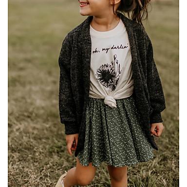 baratos Suéteres & Cardigans para Meninas-Infantil Para Meninas Moda de Rua Sólido Manga Longa Suéter & Cardigan Preto